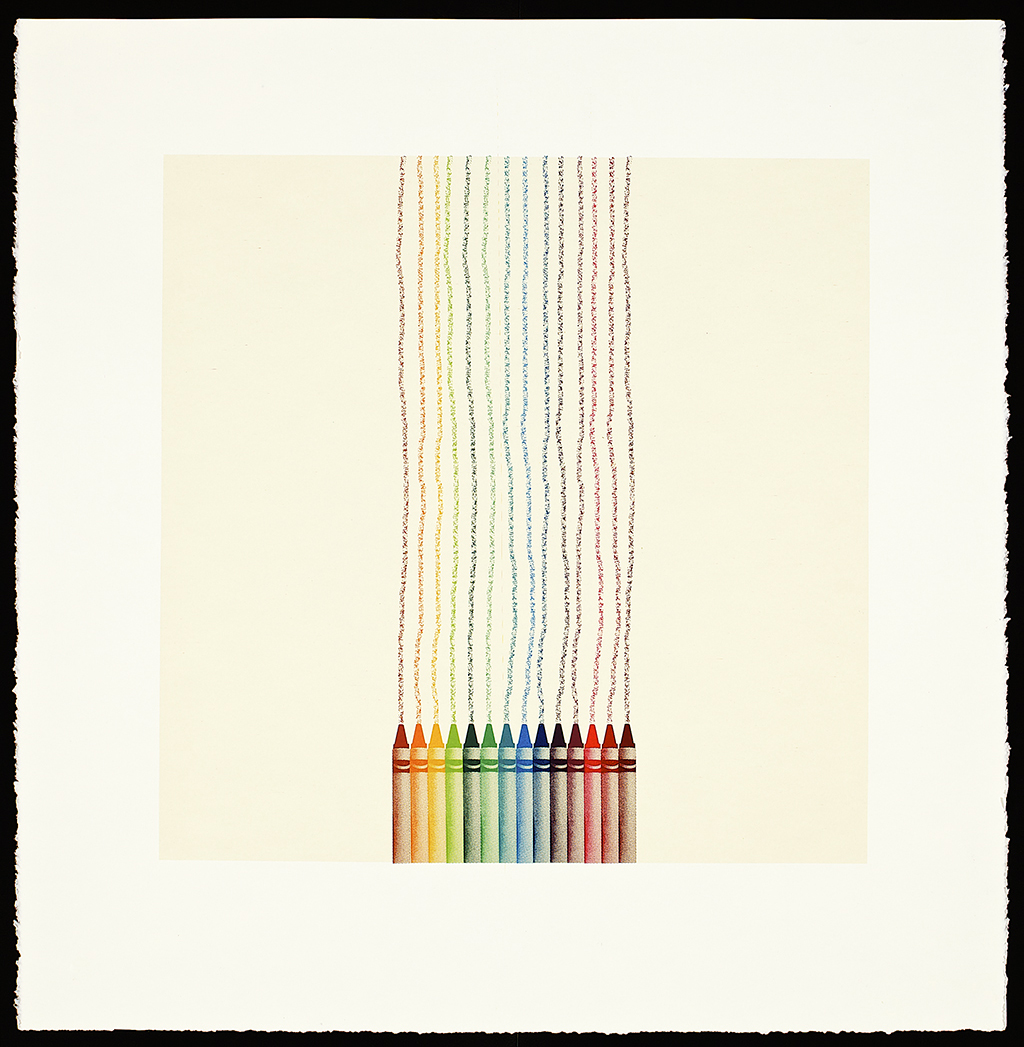"""Crayons, 2016. Screenprint. Image size: 16"""" x 16""""; paper size: 20"""" x 20"""".Edition of 10."""