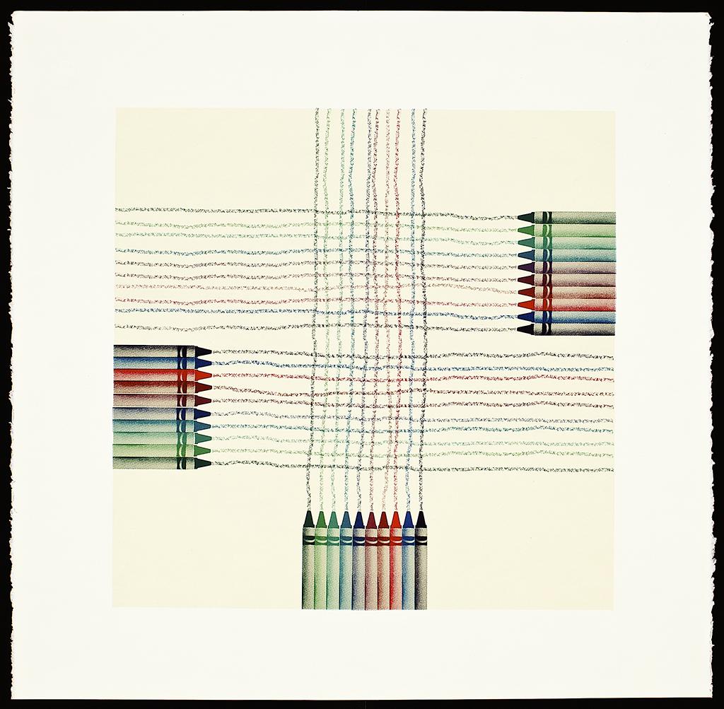 """Crayons (Weaving),2016. Screenprint (monoprint). Image size: 16"""" x 16""""; paper size: 20"""" x 20""""."""