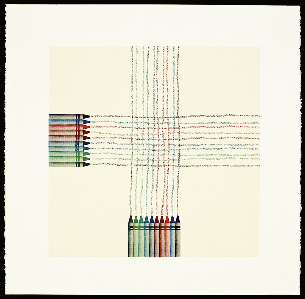 """Crayons (Grid), 2016. Screenprint. Image size: 16"""" x 16""""; paper size: 20"""" x 20"""". Edition of 10."""