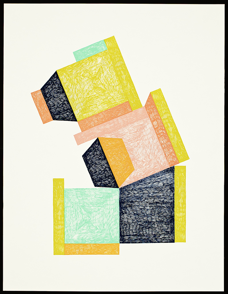 """9 x 6 Series (Boxes). 2016. Screenprint. 26"""" x 20"""". Each print is one of a kind. (sold)."""