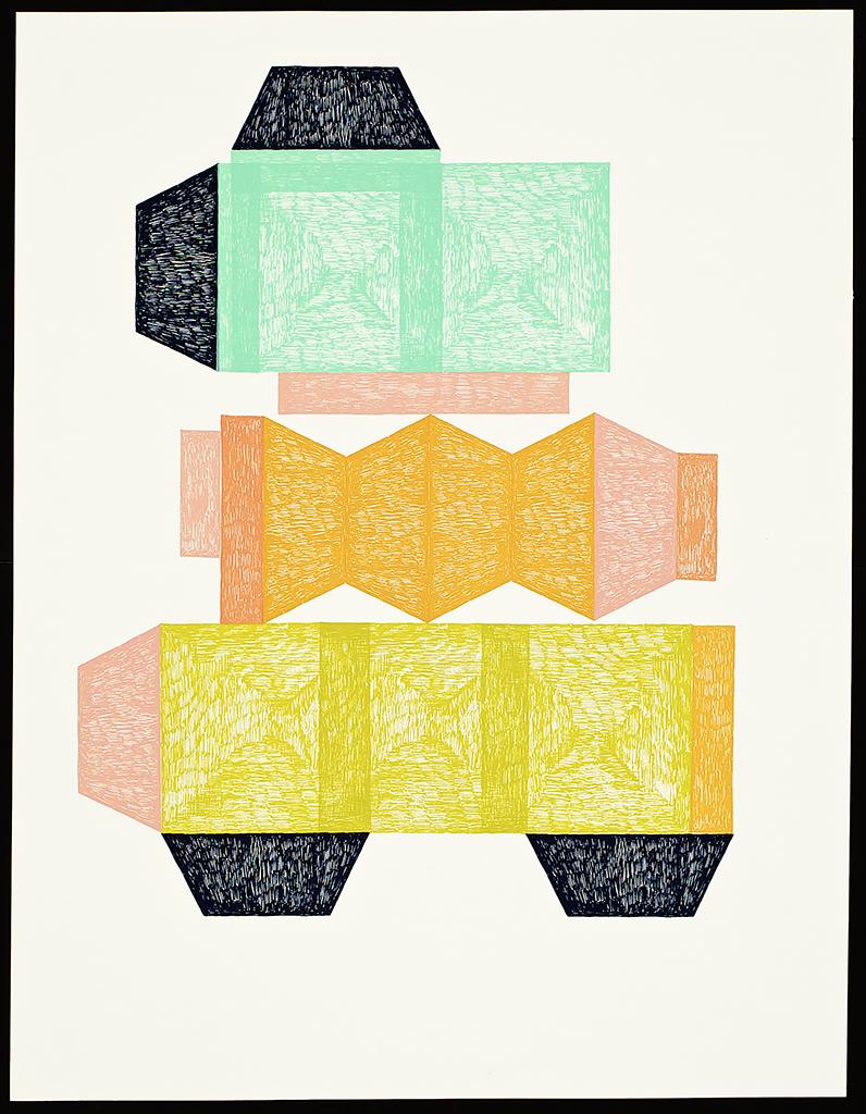 """9 x 6 Series (Furniture). 2016. Screenprint. 26"""" x 20"""". Each print is one of a kind."""