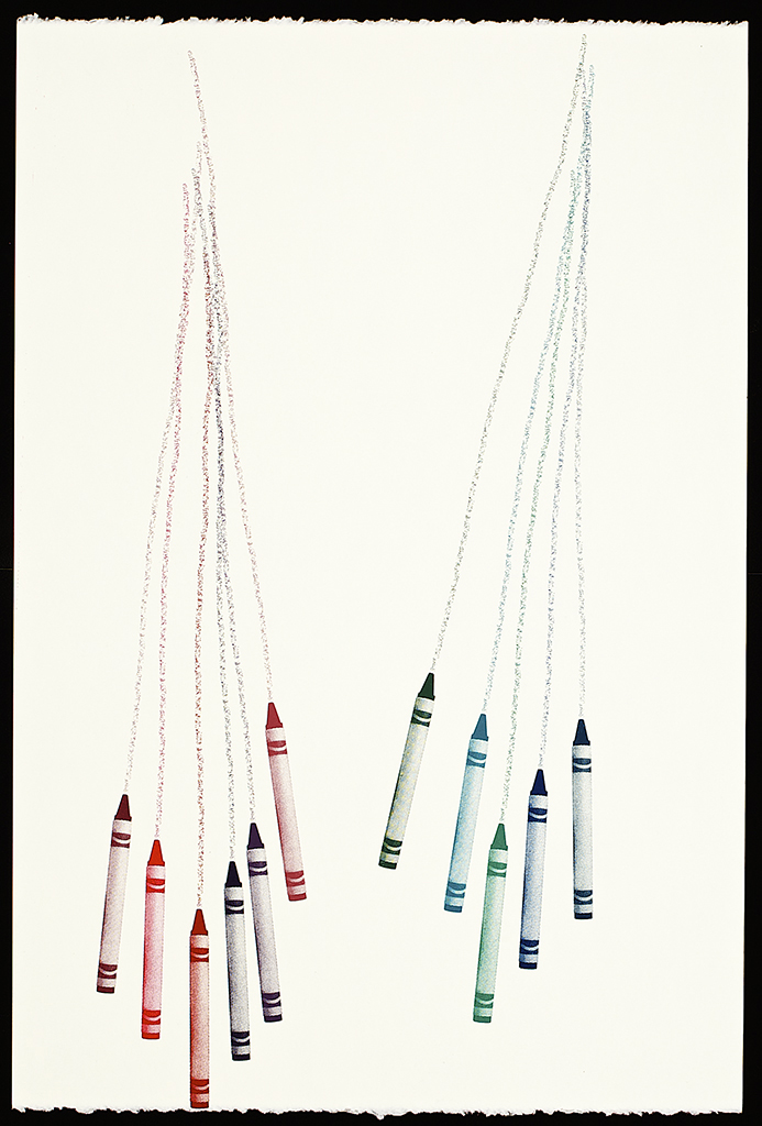 """Untitled Crayons (1), 2016. Screenprint. 22"""" x 15"""". Each piece is one of a kind."""