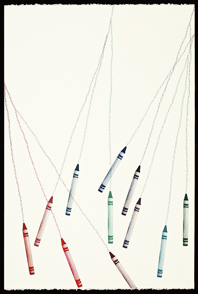 """Untitled Crayons (3), 2016. Screenprint. 22"""" x 15"""". Each print is one of a kind."""