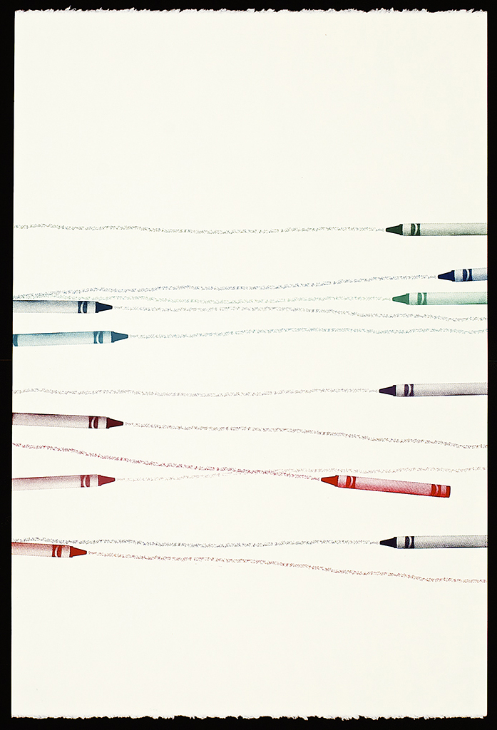 """Untitled Crayons (10), 2016. Screenprint. 22"""" x 15"""". Each print is one of a kind.(sold)."""