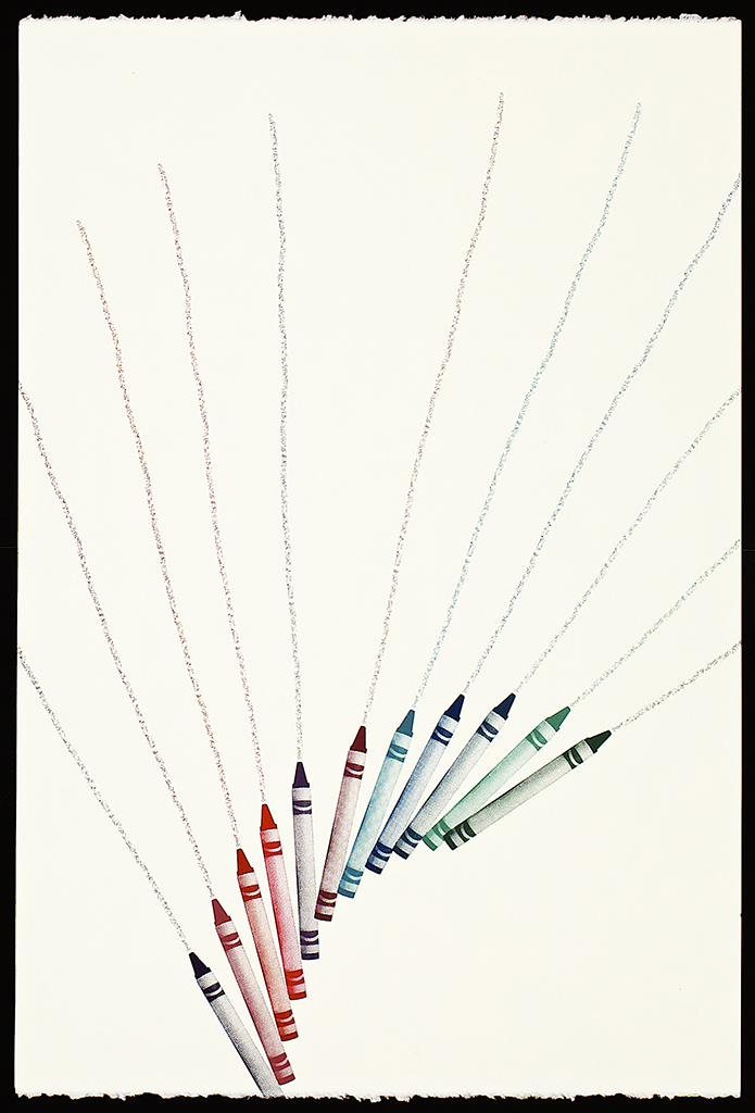 """Untitled Crayons (11), 2016. Screenprint. 22"""" x 15"""". Each print is one of a kind."""