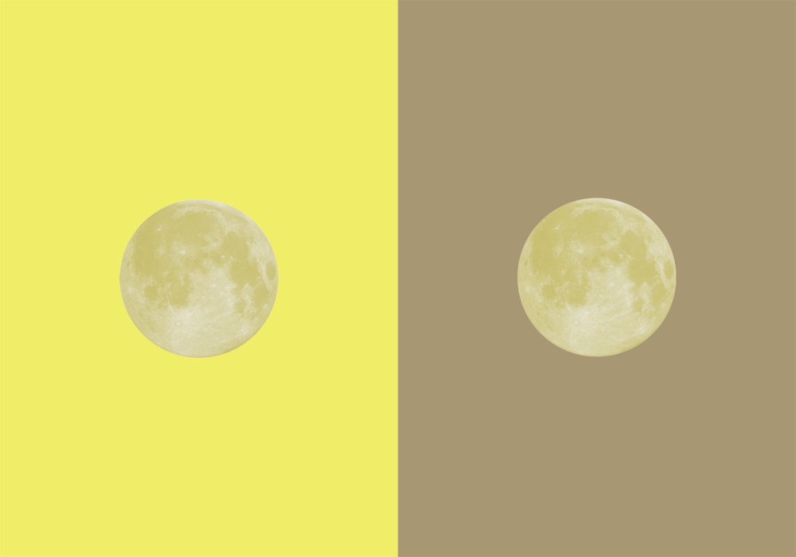 Yellow Moon/Grey Moon, 2017. screenprint, collage, edition of 5. 8 x 12 inches (each print)
