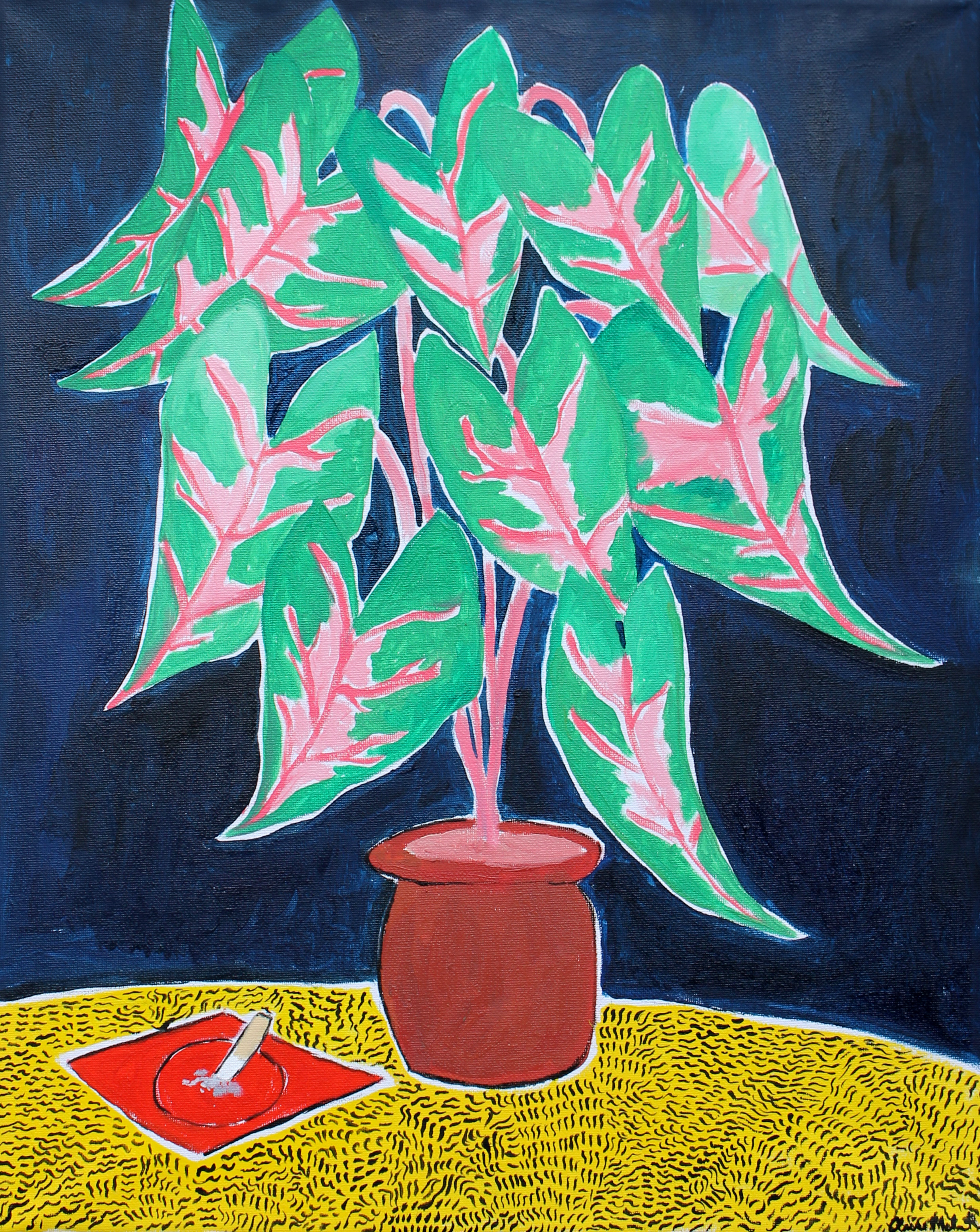Claire Milbrath, Poor Gray's Apartment (Plant), 2016. Oil on canvas, 20 x 16 inches