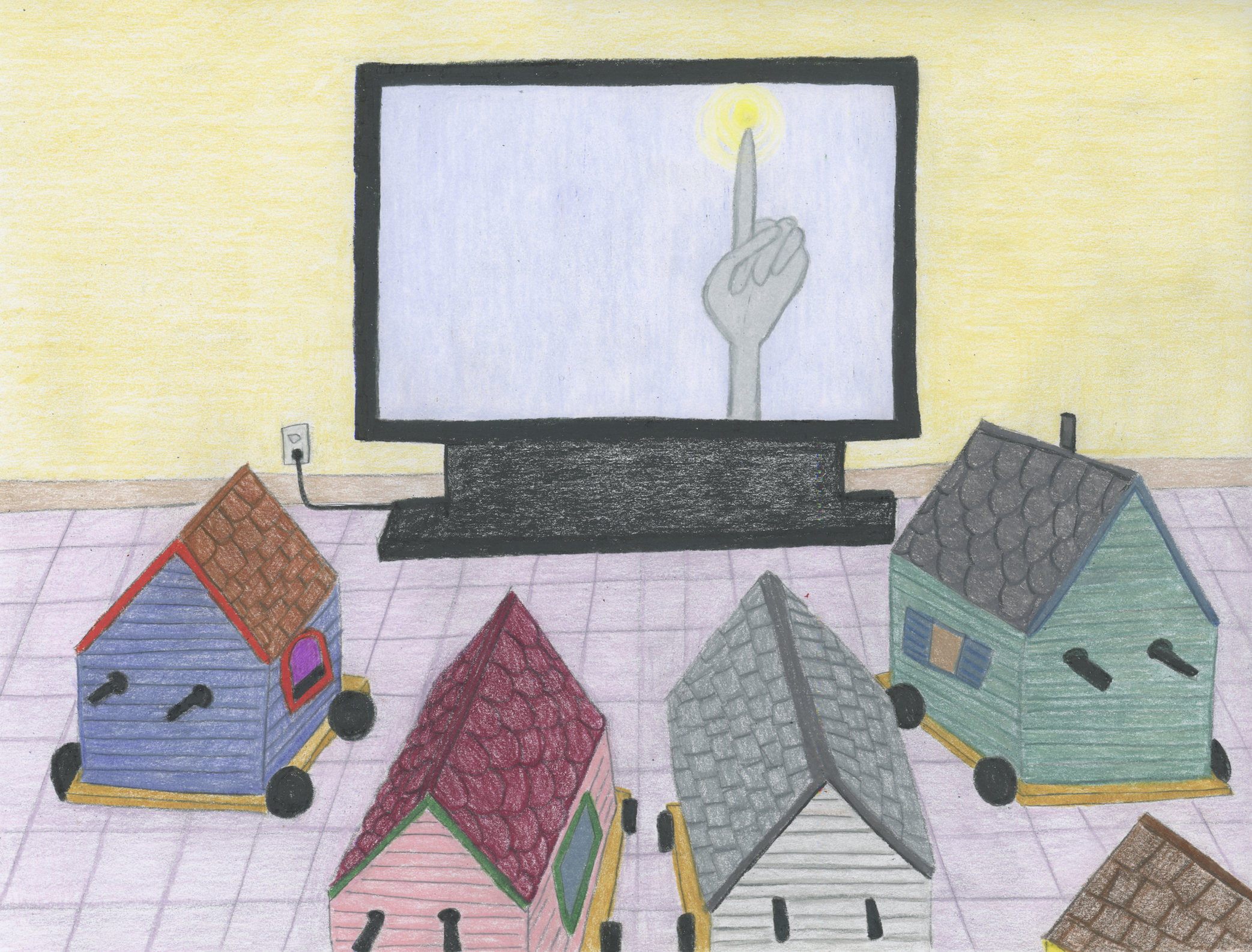 Sherry Walchuk, Homes watching EMDR TV, 2017. Pencil crayon on paper, 11.5 x 8 inches