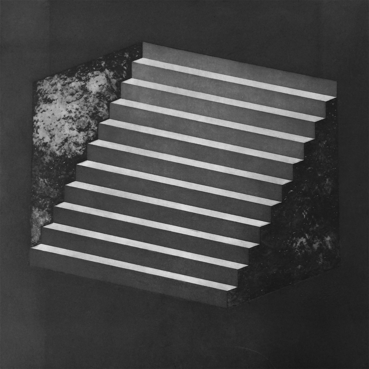Jeanette Johns  Reversible Stairs  Etching and Aquatint  Edition of 6  18 x 18 inches