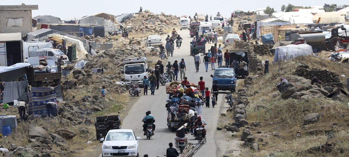 Syrian civilians flee conflict. July 2018.[UN]