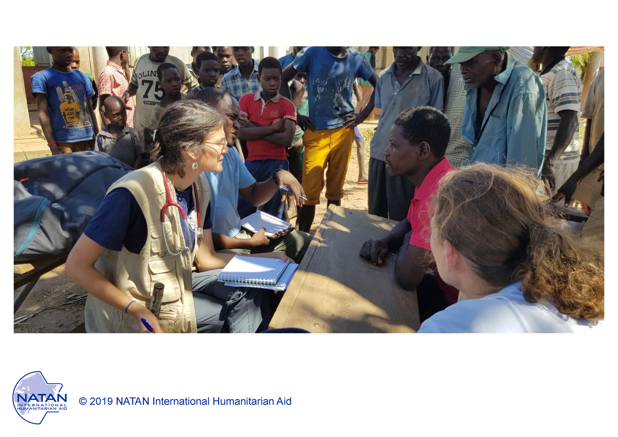 mozambique 2019: natan mds provide primary medical care and health assessments in outdoor field clinics in beira region of mozambique following cyclone idai