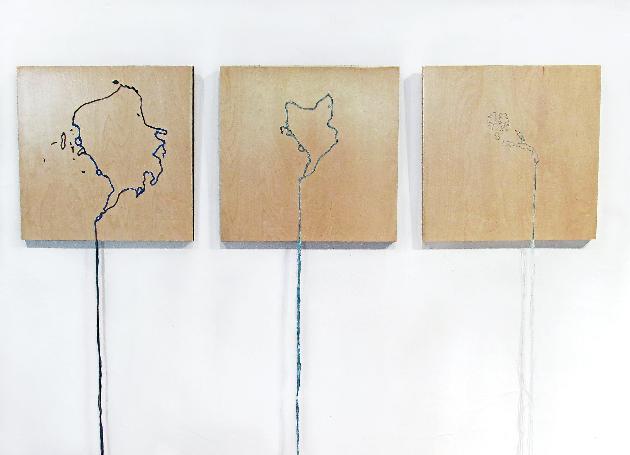 "The Arctic Meltdown, 1982|2011|2035, Embroidered plywood, 15.5"" x 15."" x 68"" each. 2015"