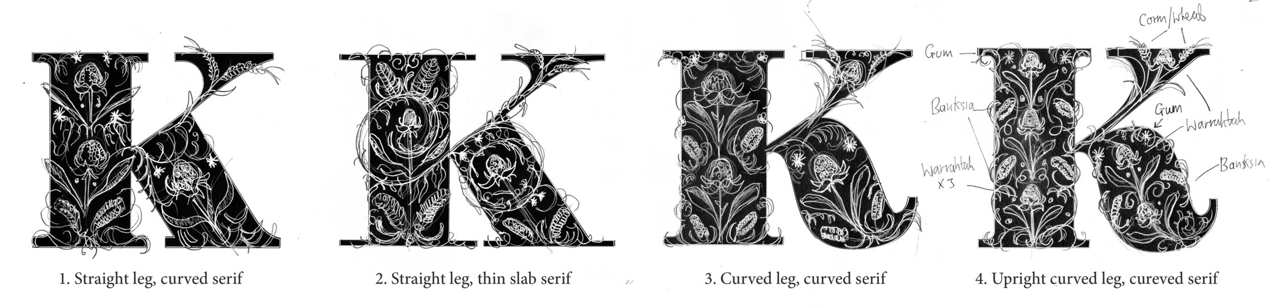 Early stage sketches exploring the various letterforms