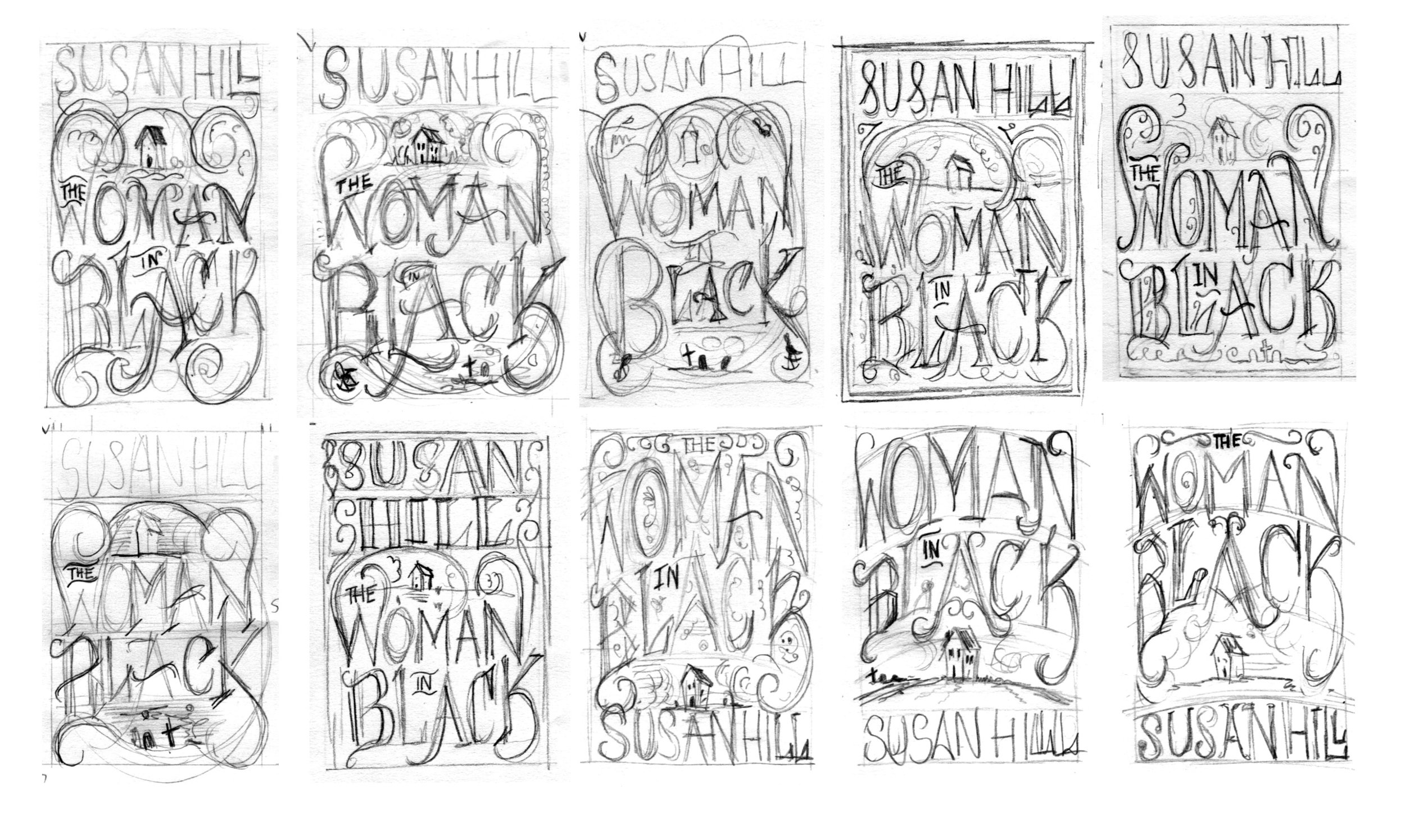 Thumbnails exploring various lock-ups of image and lettering