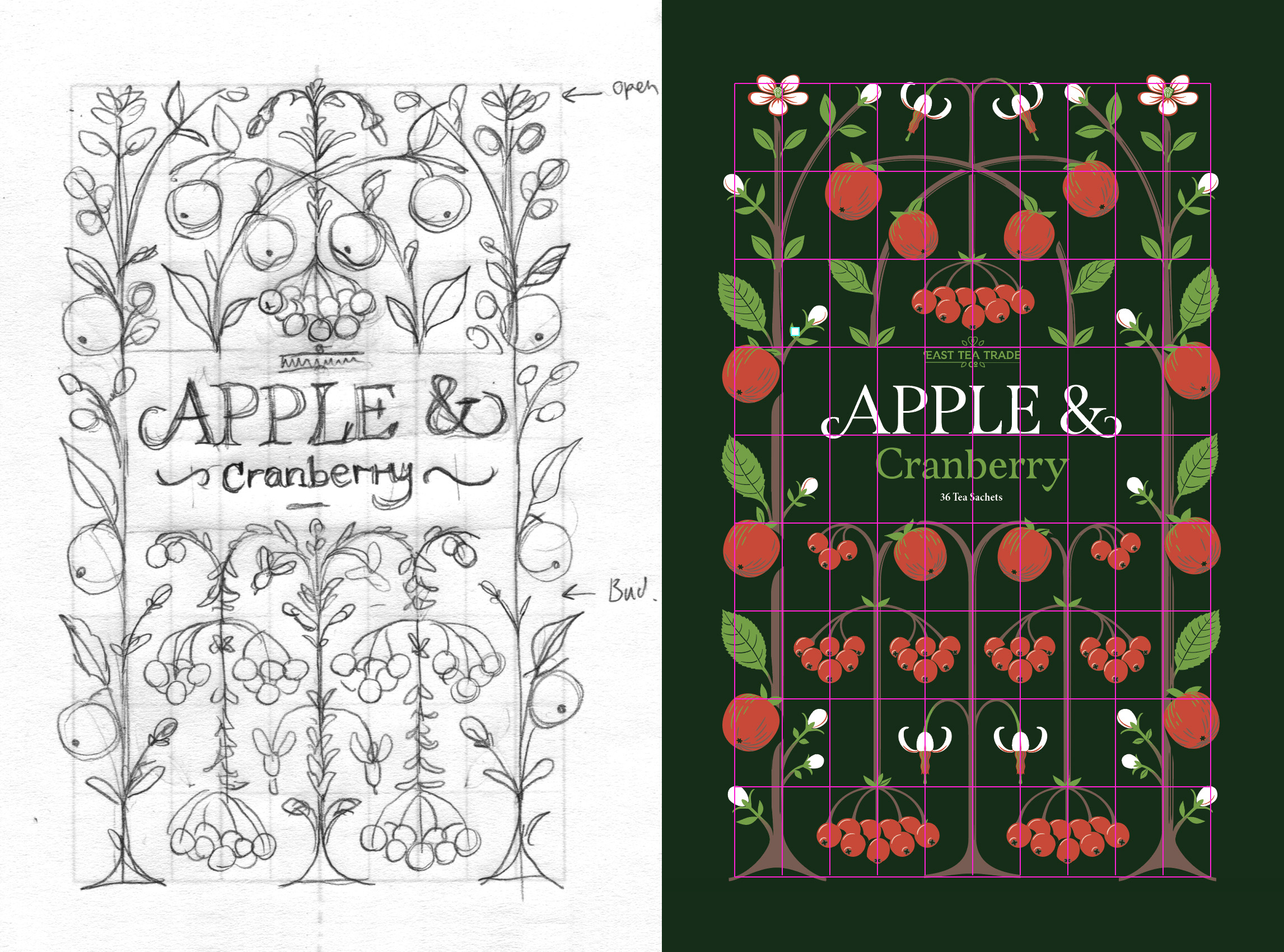 Original sketch Apple & Cranberry sketch and the underlaying grid