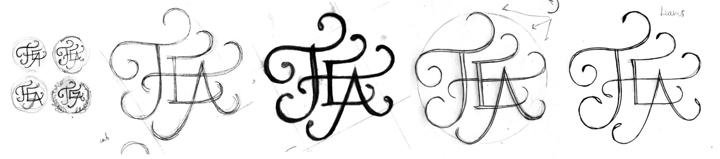 Sketch progression of the swashed TEA lettering