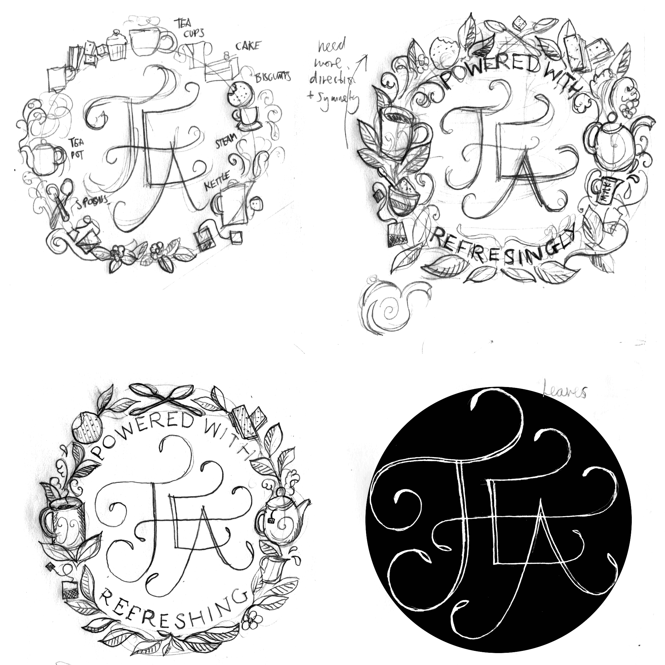 Element sketches for the laurel. I nearly got a slice of cake in there too.