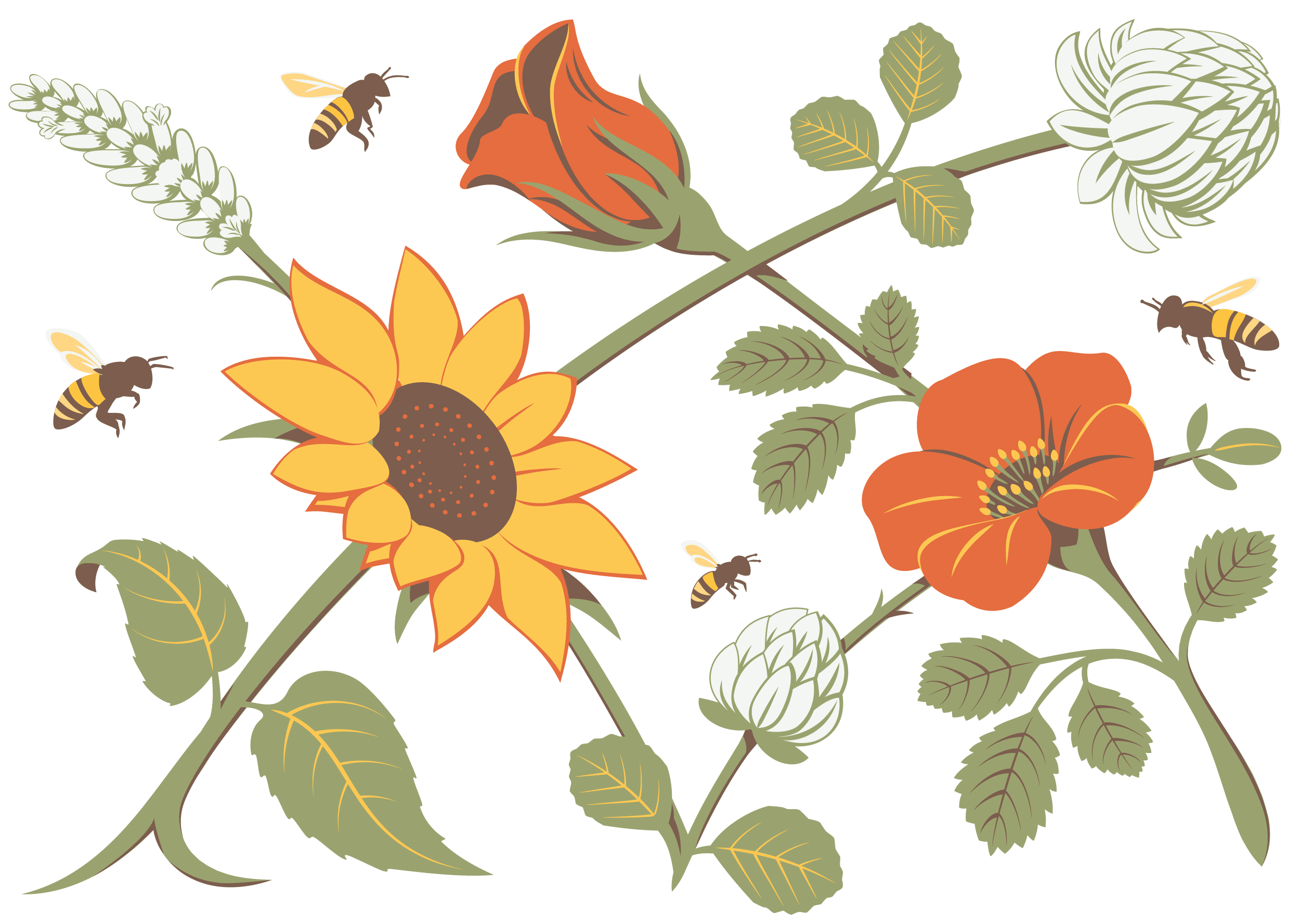 Some of the plant detail isolated from the artwork