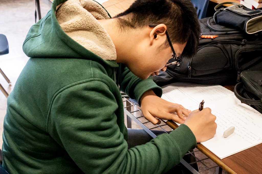 New Westminster Secondary student working on  Site Stories  project. Photo: Rachel Topham.