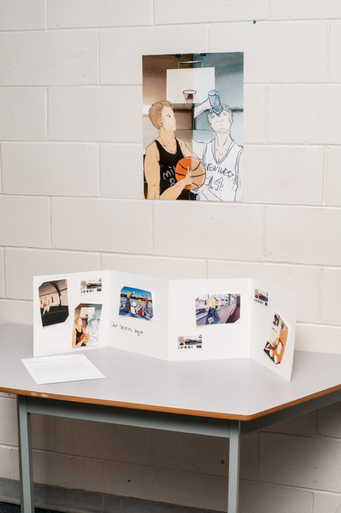 Student photo and illustration project installed as part of  Site Stories  exhibition. Photo: Rachel Topham.