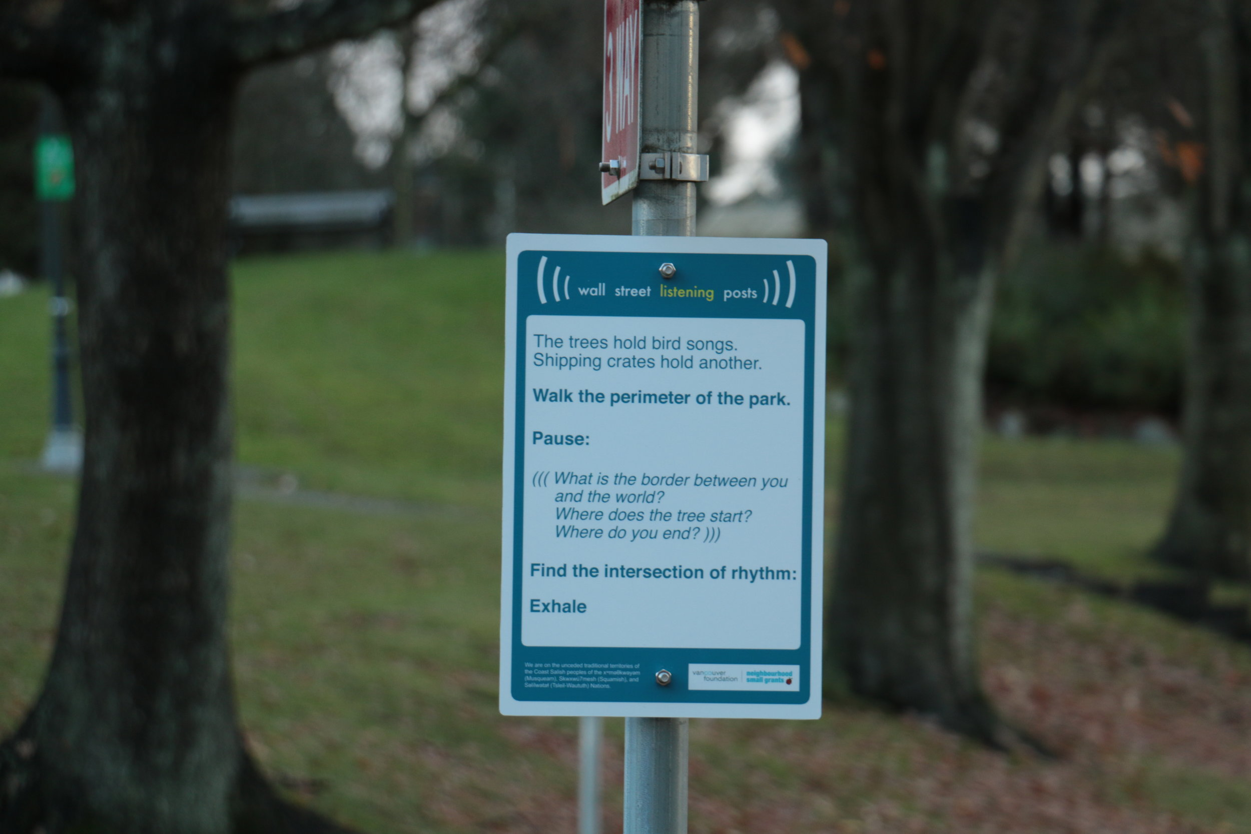 Wall Street Listening Post installed at Wall and Penticton. Photo: Krystle Coughlin.