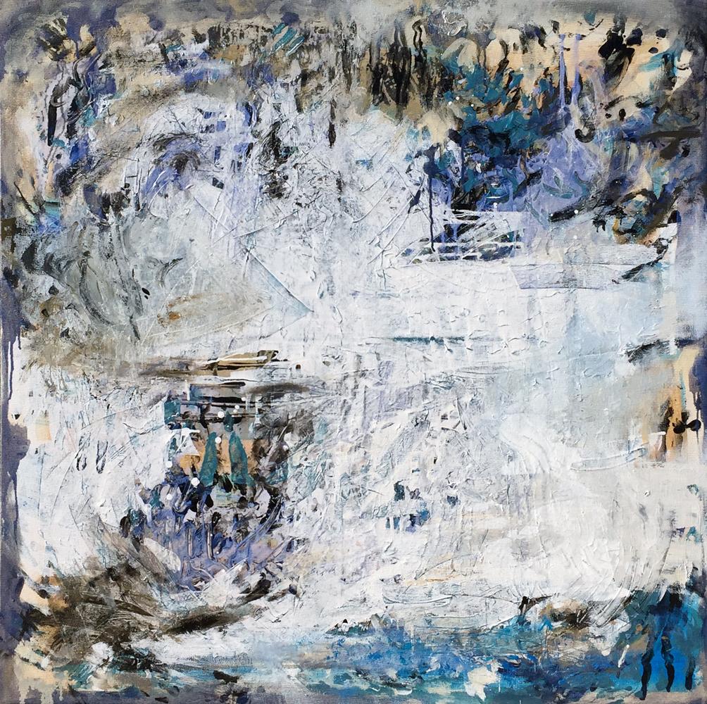 "Intermission X, 45"" x 45"", oil, acrylic, canvas, 2016."