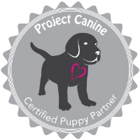 Project Canine's Puppy Partner logo. Breeders and puppy raisers displaying this symbol are certified to visit with puppies in their care.