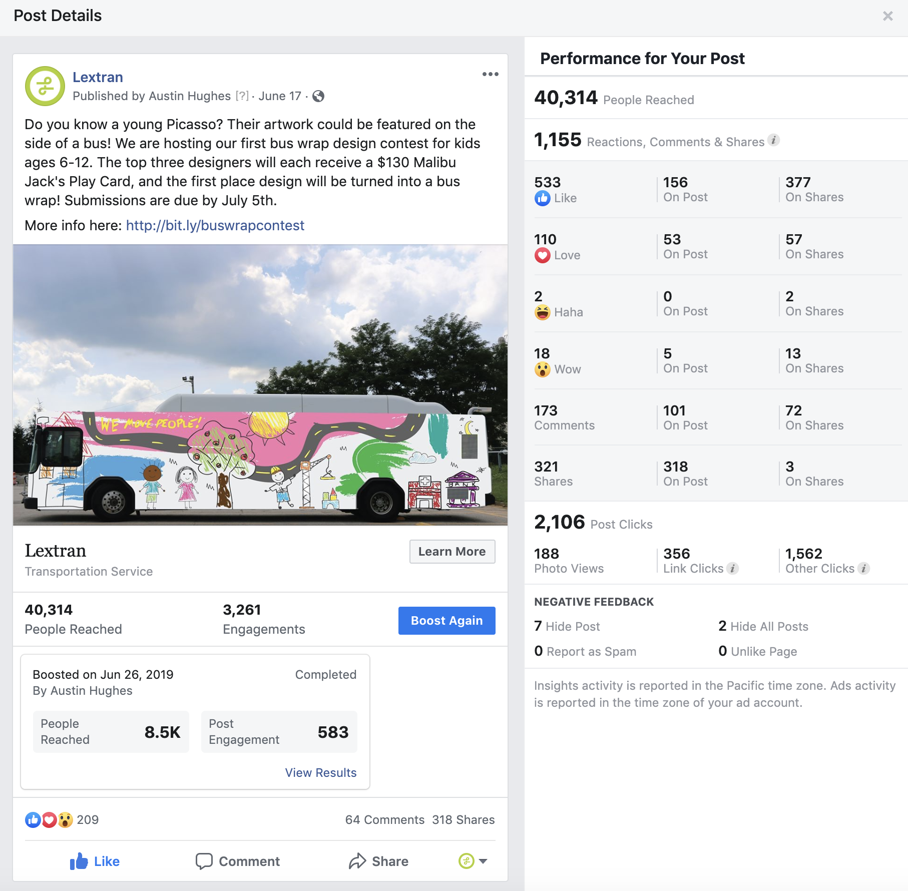 """Marketing Campaign Elements - This post, and others that were similar, were a part of our """"We move people"""" campaign. It received a ton of attention and was picked up organically by local media such as Fox56, WKYT, LEX18, and Spectrum News."""