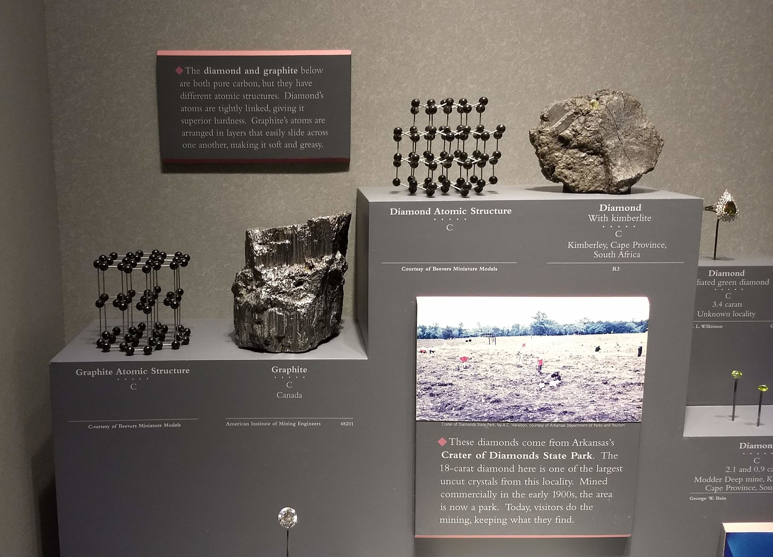 An exhibit at the Smithsonian Museum of Natural History in Washington, DC about graphite and diamond, and their different molecular structures. Photo by Johnny Gamber.