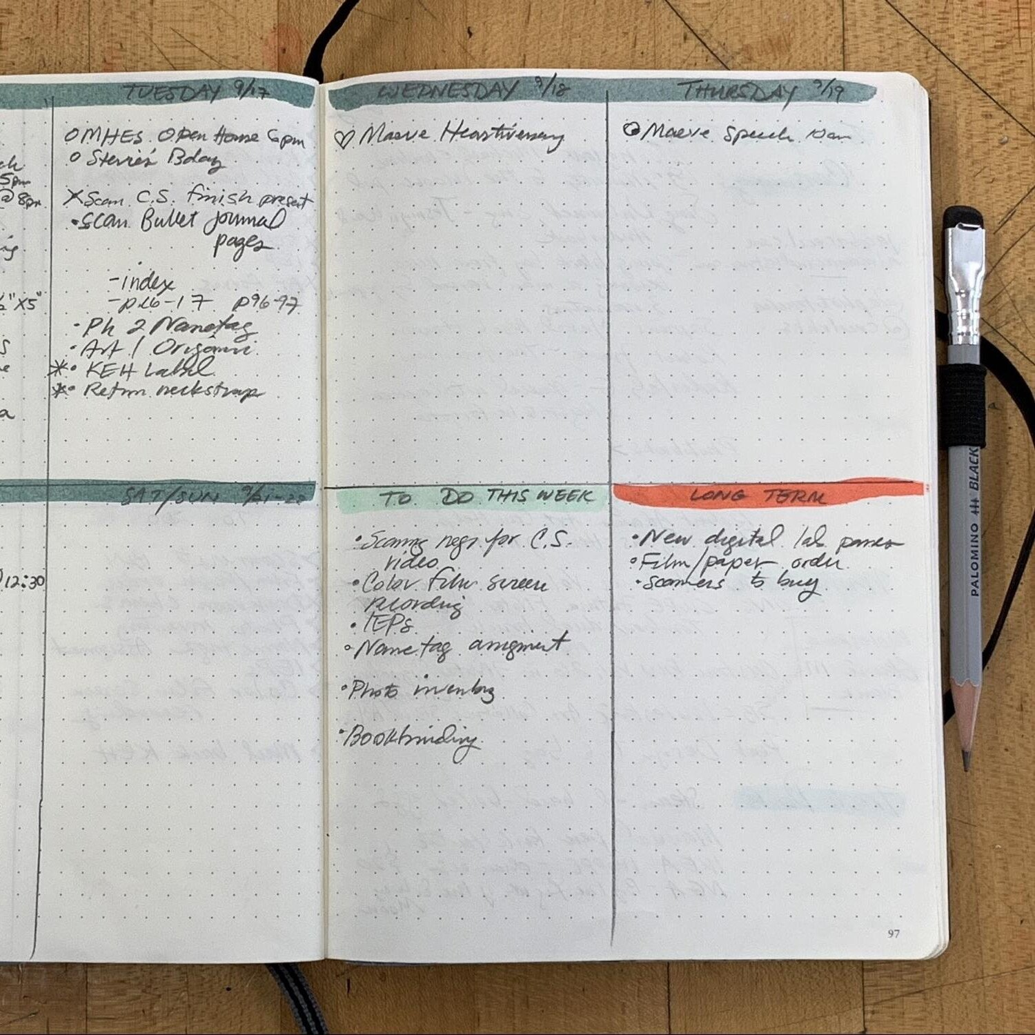A photo of Jacob Cecil's bullet journal spread.