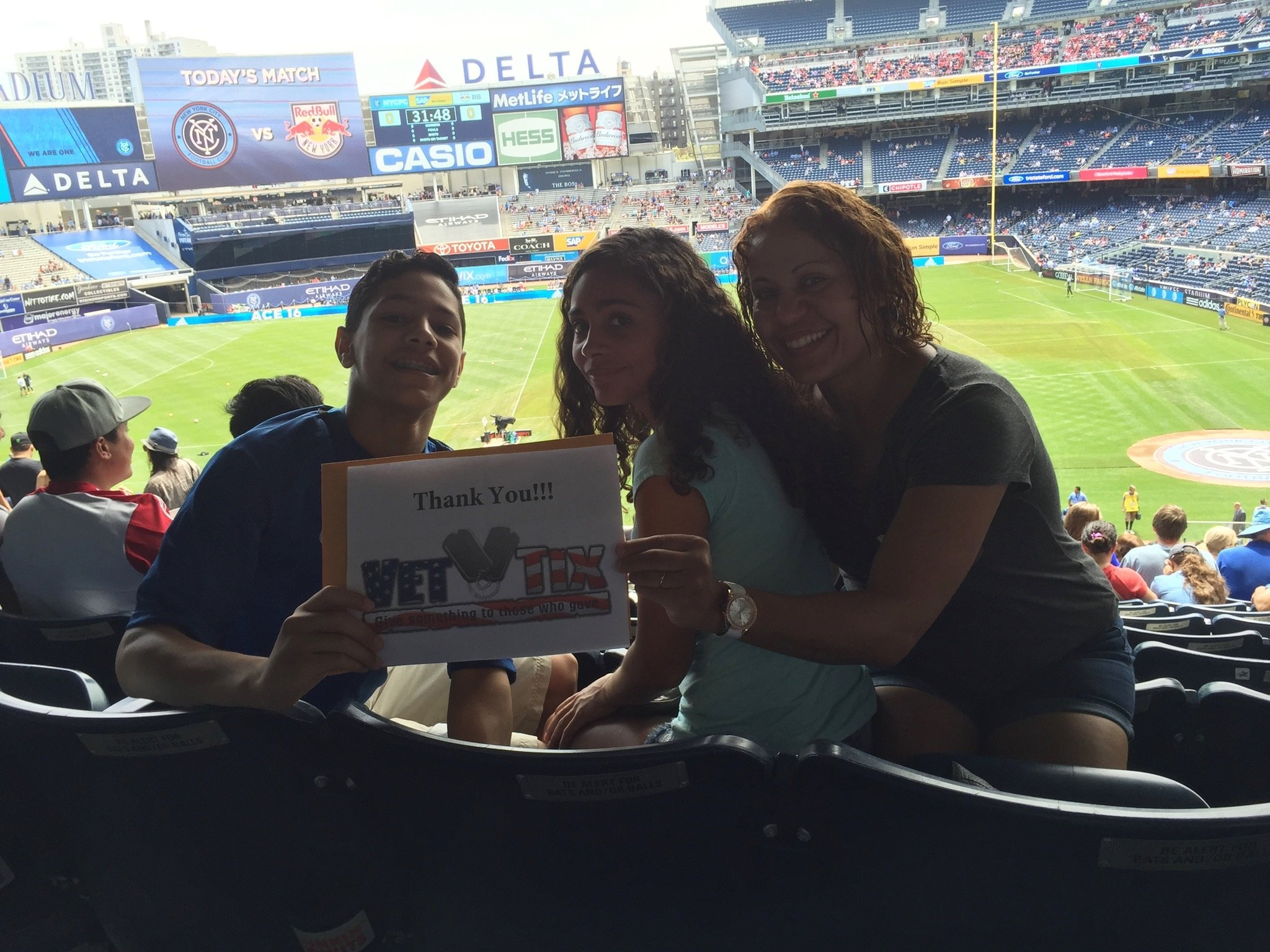 """"""" Thank you so much for these tickets on an amazing 4th of July Weekend. We appreciate the donation so much. The game was amazing and NYCFC won 2-0. A big thanks from our family."""" - US Coast Guard Serviceman"""