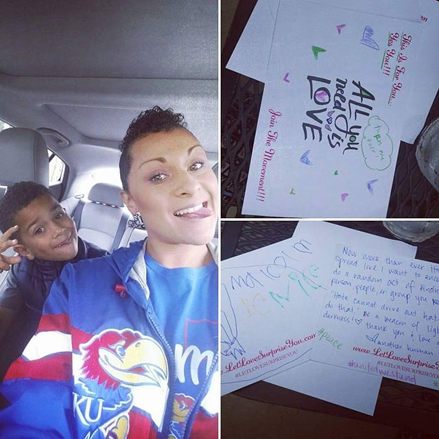 """#REPOST via @cerenarene_j """"We needed some fun and healing so... My son chose my hair-do (a mohawk) and my complete outfit and we headed out to paint and spread love (left notes in random locations encouraging others to in turn spread love to those who they normally wouldn't) @letlovesurpriseyou #letlovesurpriseyou #healing #unity #unitedwestand """""""