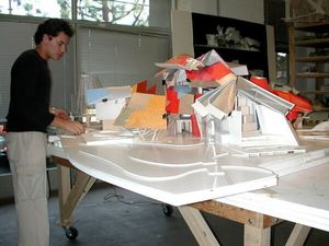 "José Antonio González working on ""Puente de Vida"" Biomuseo at Gehry Partners."