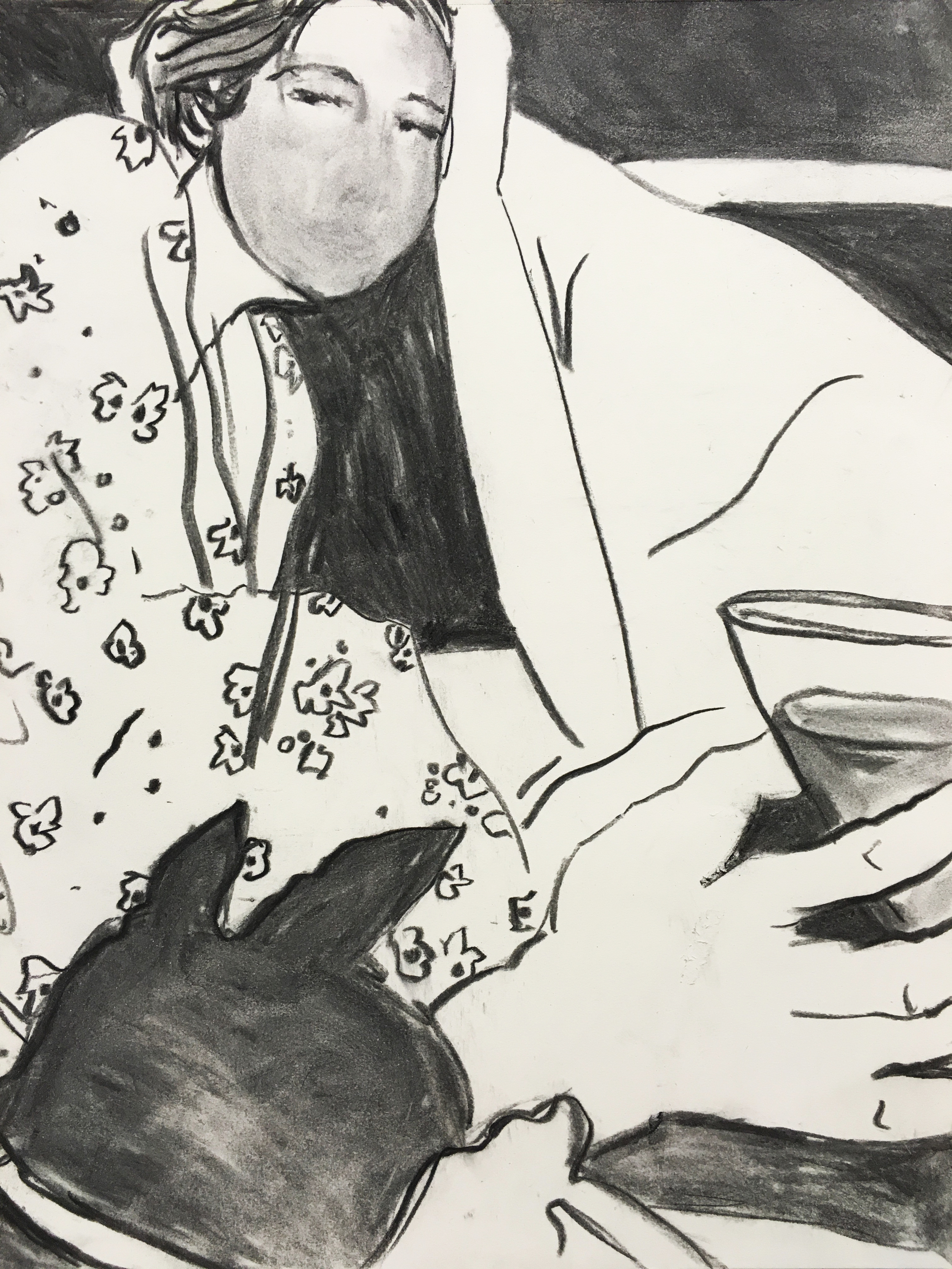"Nightcap, 16"" x 20"", charcoal on paper, 2015"