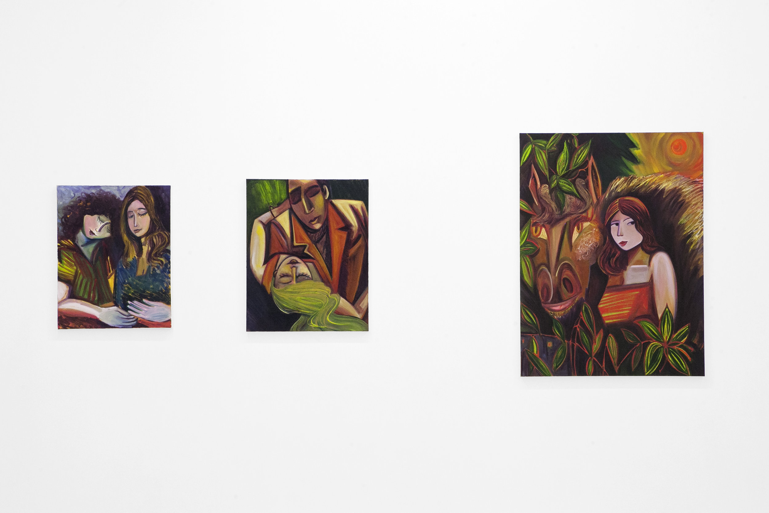 Three paintings in The Slow Clock, a solo exhibition at Pt. 2 Gallery (Oakland, CA). 2019.