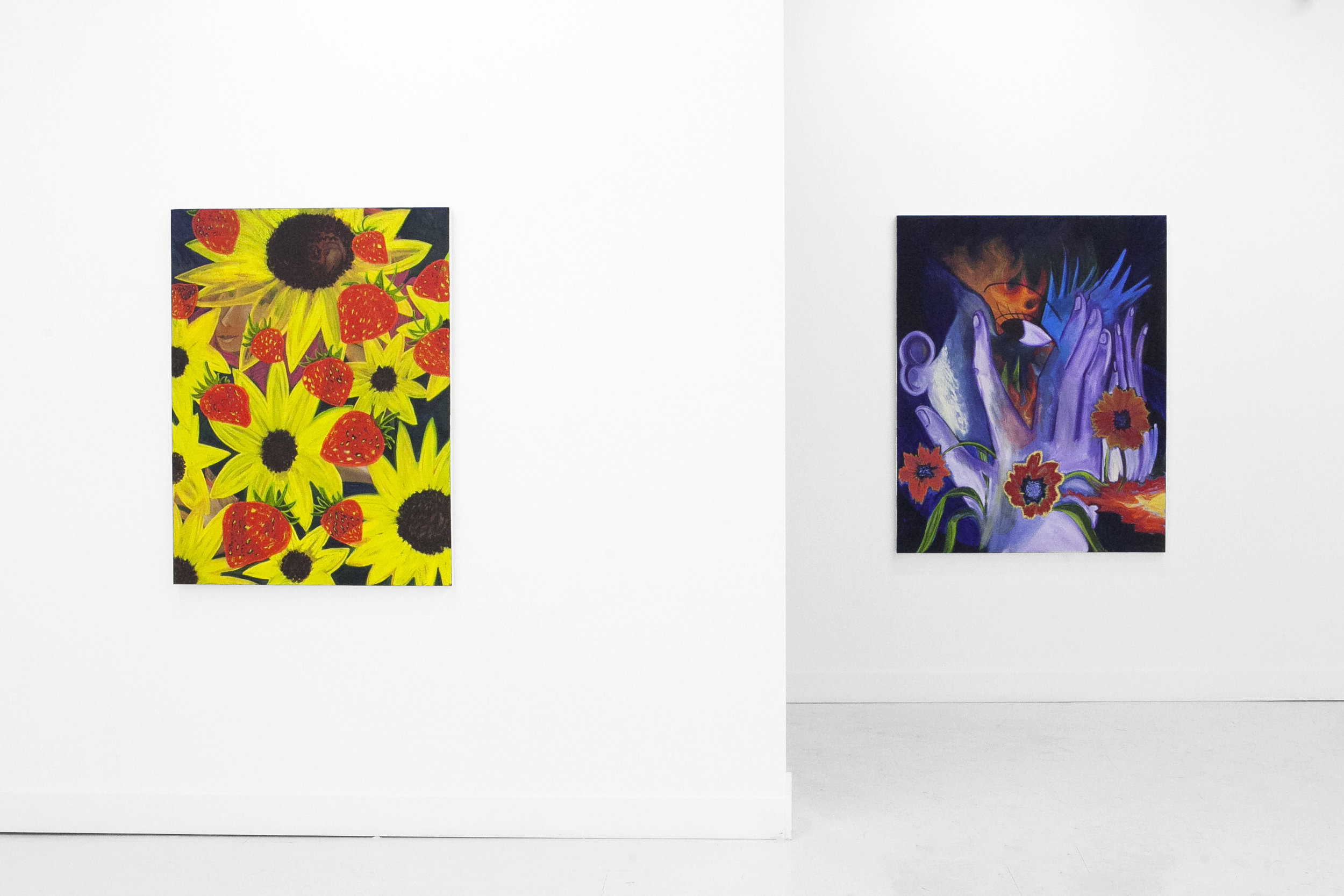Two paintings in The Slow Clock, a solo exhibition at Pt. 2 Gallery (Oakland, CA). 2019.
