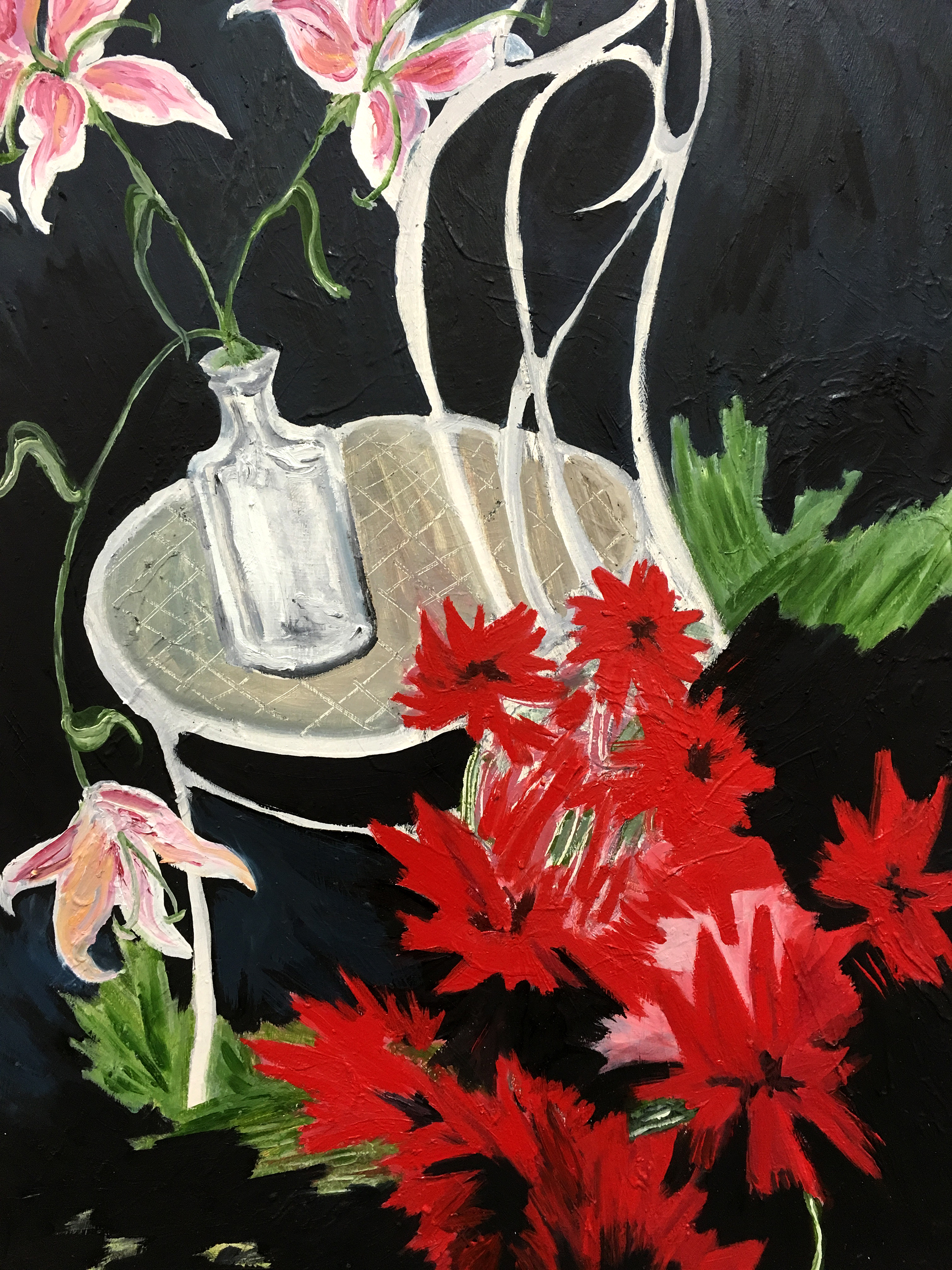 Still Life with Lilies and Red Flowers, oil on canvas, 2016