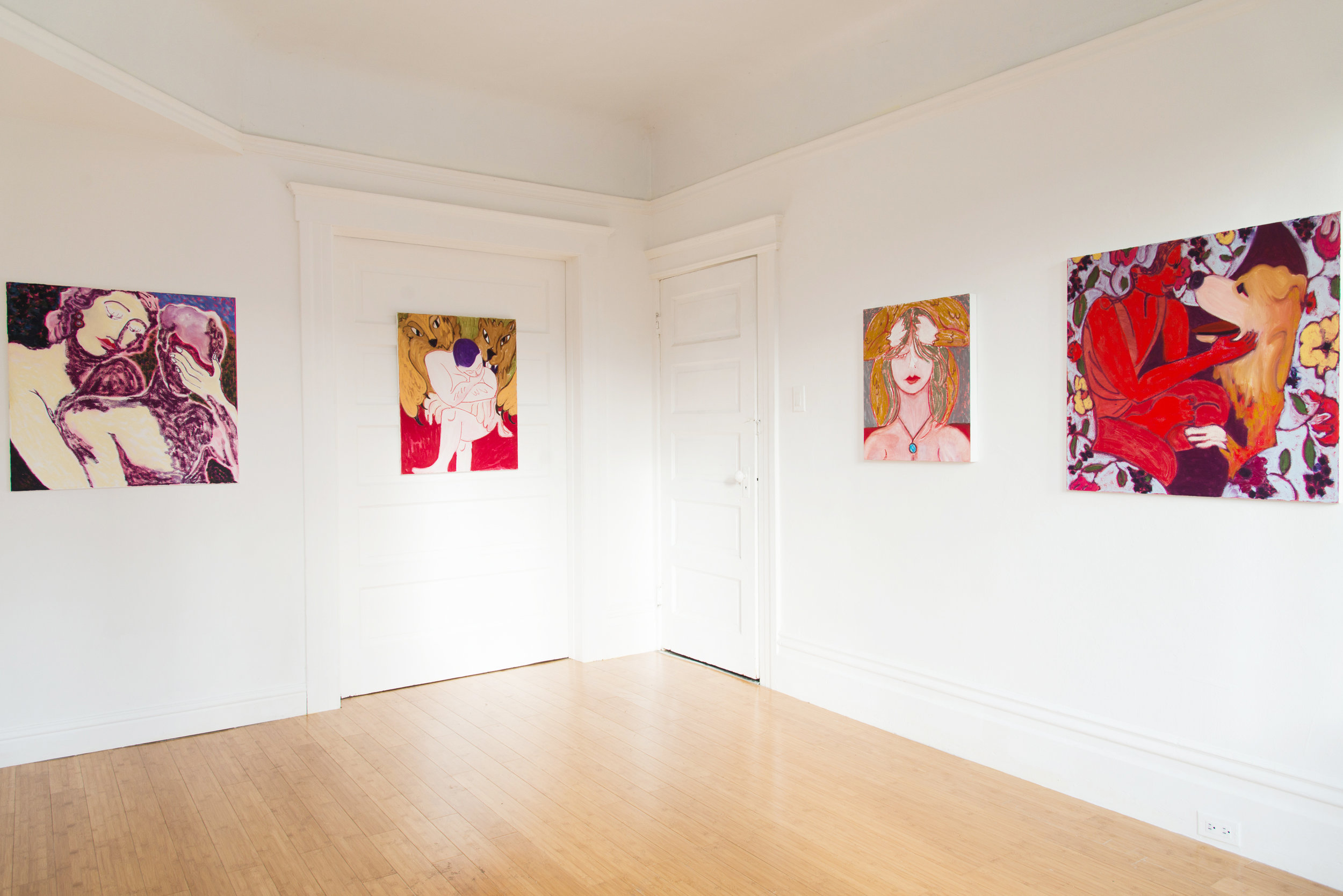 Installation view of The Dog's Dream, a solo exhibition at 100% (San Francisco, CA). 2017.