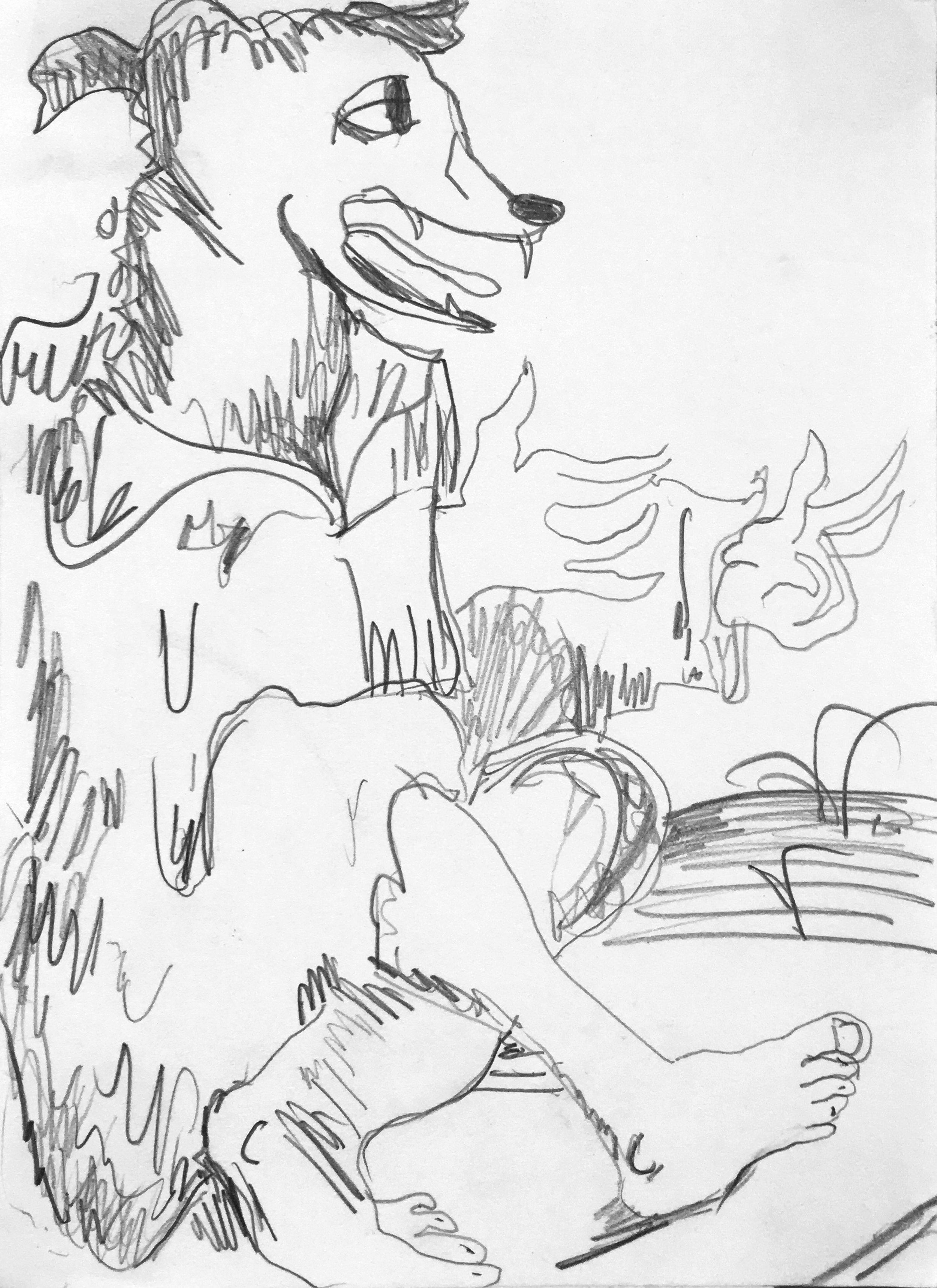 "Dog Man, pencil on paper, 8"" x 6"", 2016"