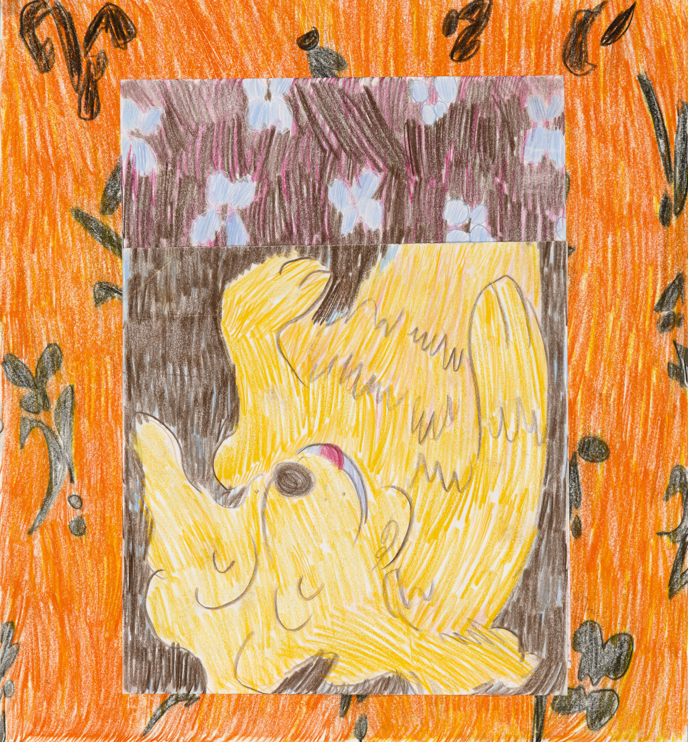 """Orange Rug, color pencil and collage on paper, 14"""" x 17"""", 2017"""