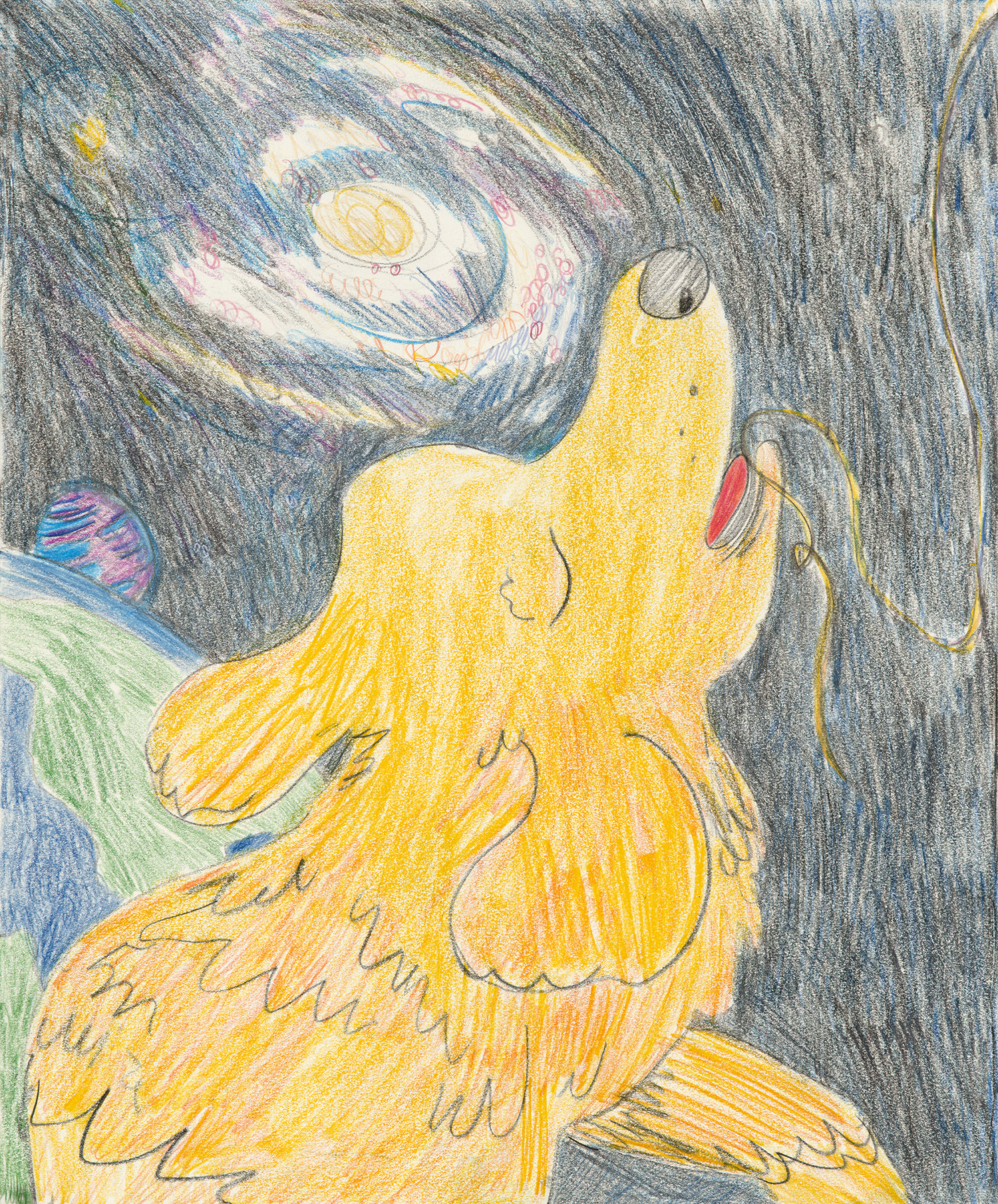 """Dog in Space, color pencil on paper, 14"""" x 17"""", 2017"""