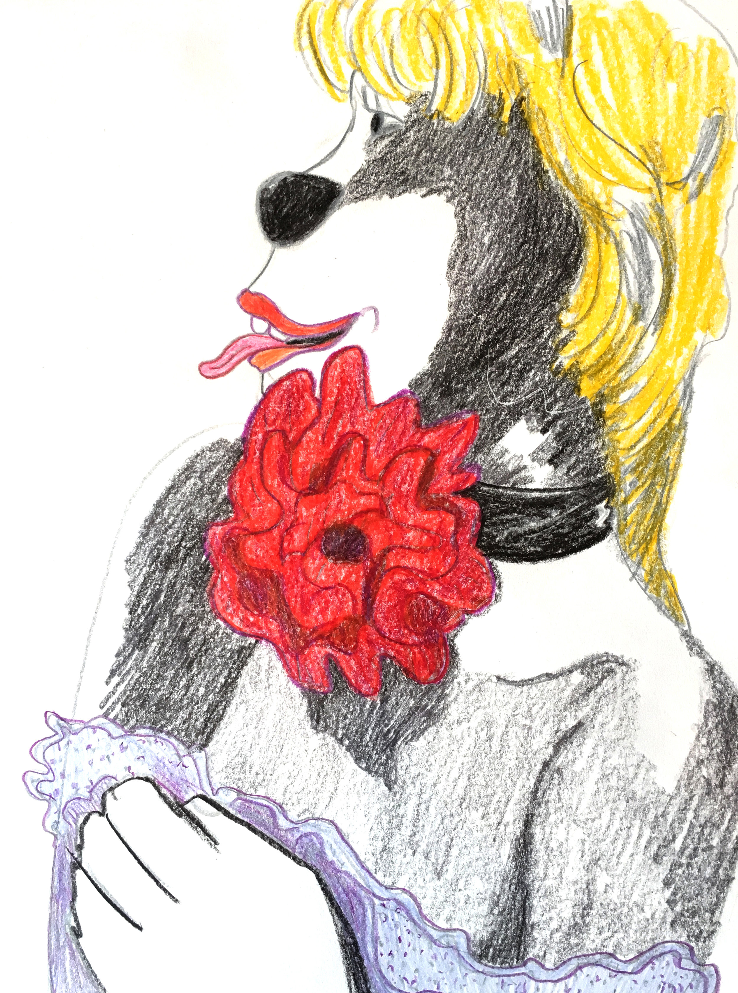 """Lady Dog with Rose Collar, color pencil on paper, 8"""" x 10"""", 2017"""