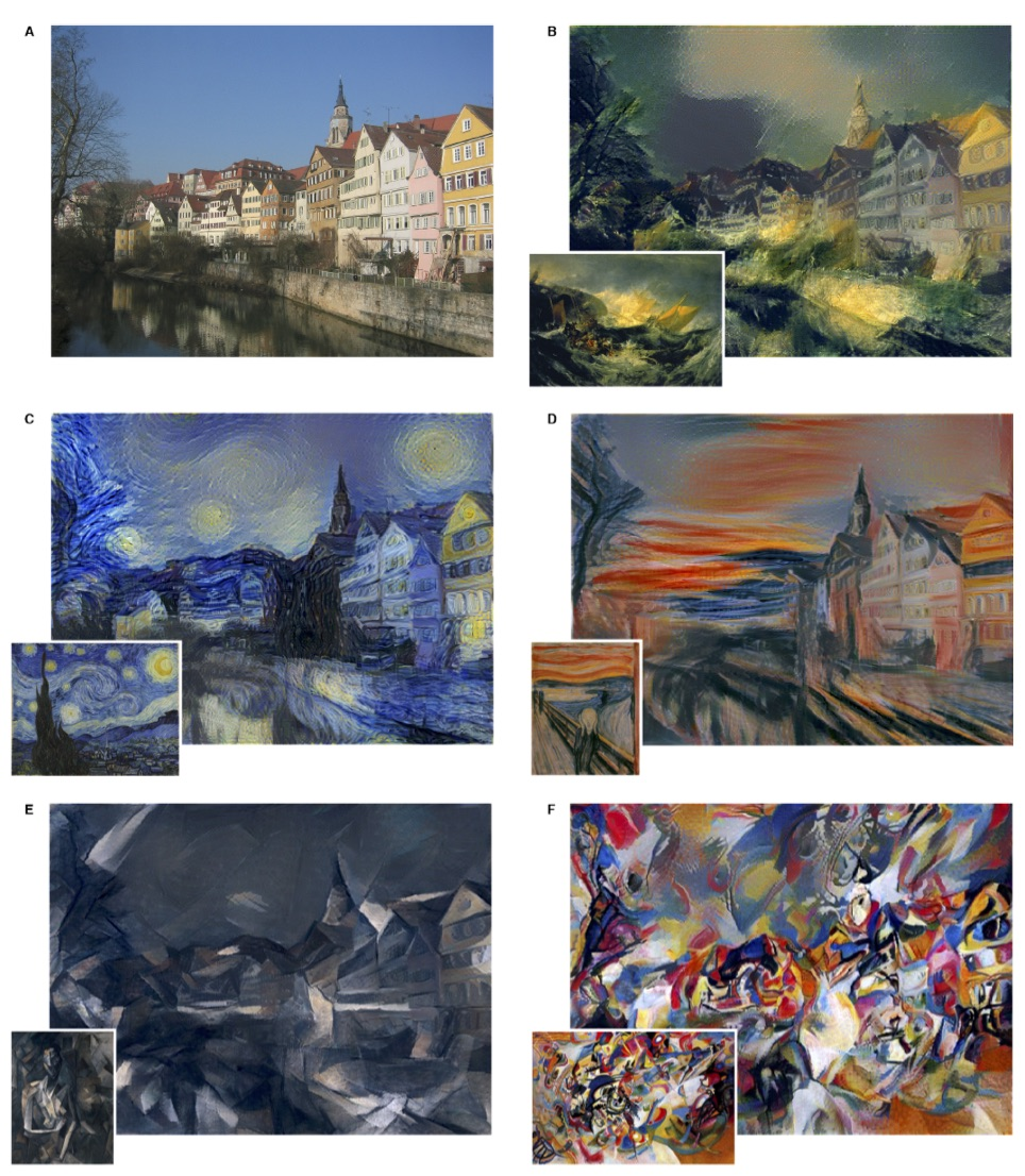 B The Shipwreck of the Minotaur by J.M.W.Turner, 1805.  C  The Starry Night by Vincent van Gogh, 1889.  D  Der Schrei by Edvard Munch, 1893.  E  Femme nue assise by Pablo Picasso, 1910.  F  Composition VII by Wassily Kandinsky, 1913.