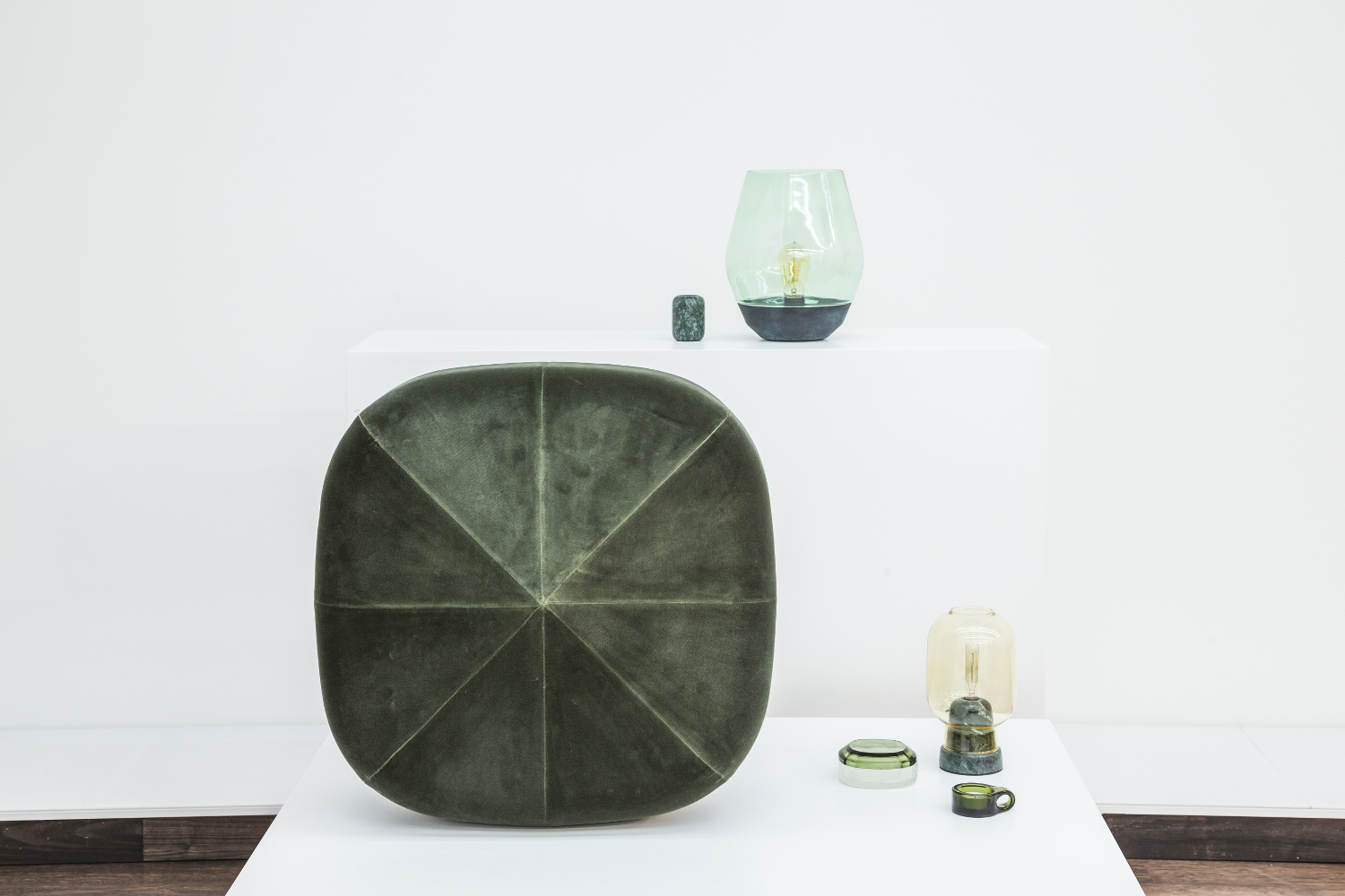 NEW WORKS  products shown:  Balance Candle Holder - Indian Green Marble, Medium // Design: Kristina Kjær  Bowl Table Lamp - Verdigrised Copper w. Light Green Glass // Design: Knut Bendik Humlevik      Photos by: OUT OF THE DARK