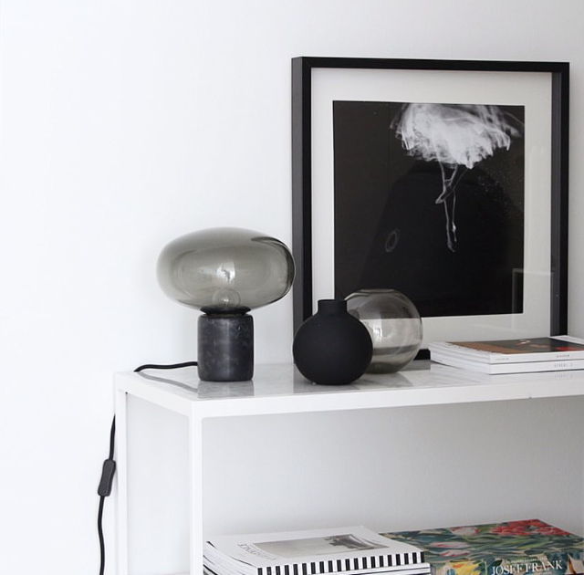 Karl-Johan Table Lamp - Black Marquina w. Smoked Glass // Photo by Catcooee
