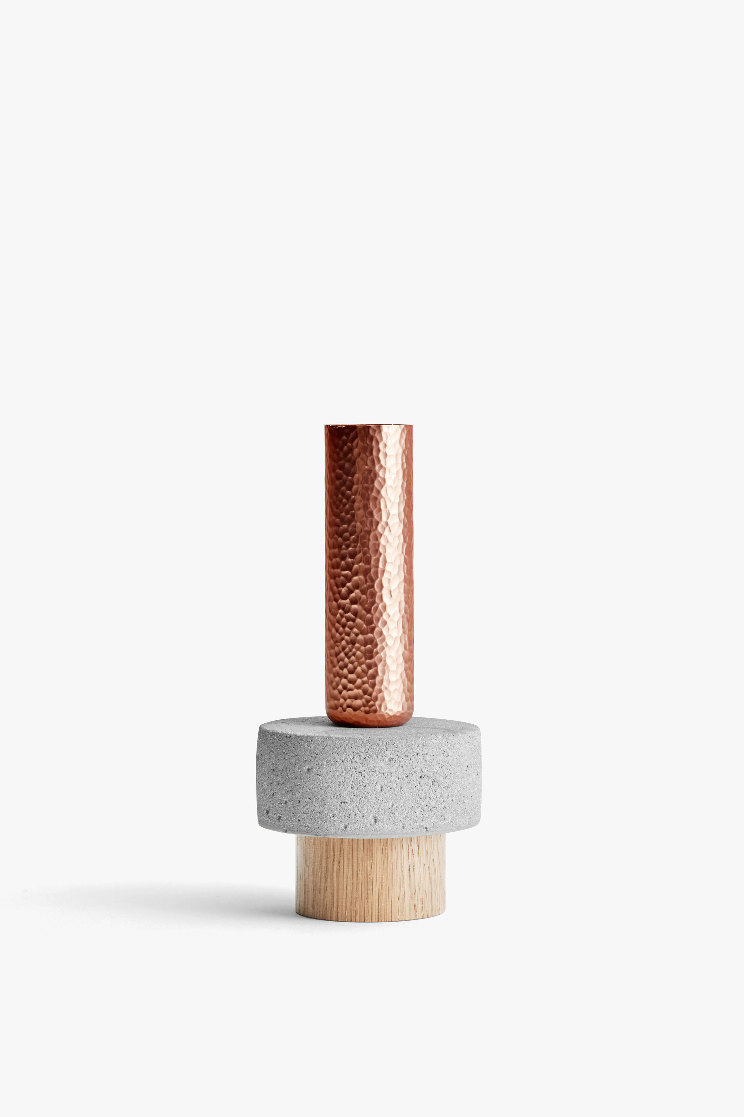 Crowd Candle Holder, Tall Stuart Concrete w. Wood Base, New Works, High Res.jpg