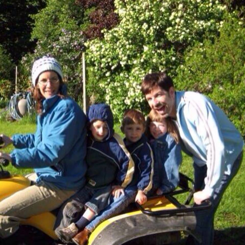 #throwbackthursday #8 - May 27, 2008. Up on the Merrell Farm! I never got tired of going up here to spend time with the family and relax. Tim 's favorite gadget was his four wheeler. Here with Laurie, nephews, Daniel and David, and niece, Charlotte. #rememberingtim