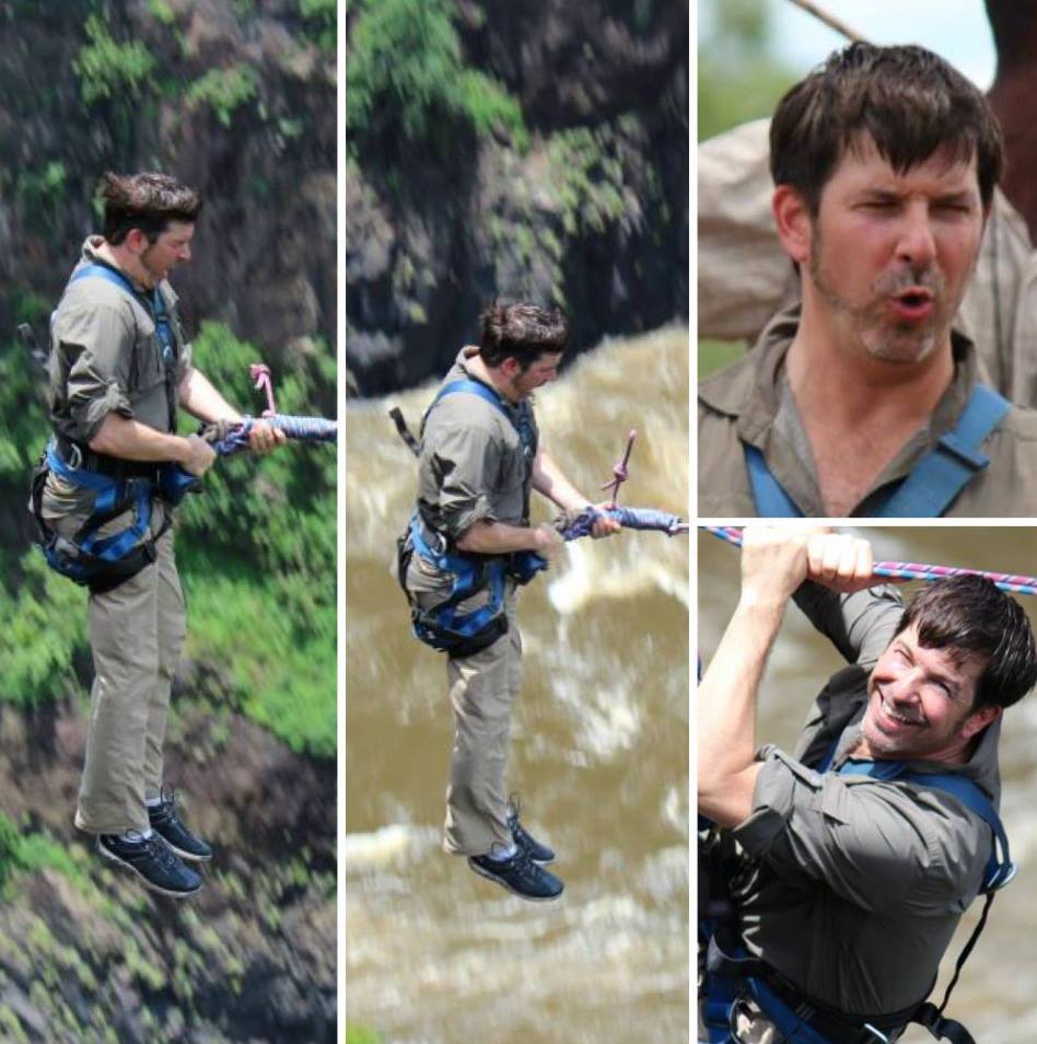 #throwbackthursday  #11 - Jan 27, 2012 - Zambezi River at Victoria Falls, Africa - Always up for an adventure, Timfree-falling 250 feet below before we even start to swing! All done without liquid courage  #rememberingtim