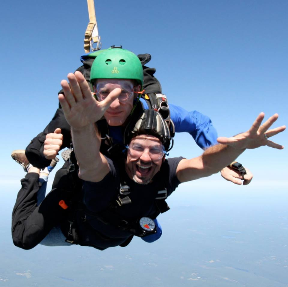 #throwbackthursday  #24 - Aug 29, 2010 - After yesterday, we're keeping this week's   #tbt  light and airy, people! Always up for anything, I convinced this daredevil to jump out of a plane with me! Pic says it all…  #rememberingtim
