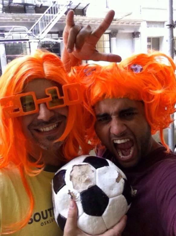 #throwbackthursday #25 - July 11, 2010: in the spirit of World Cup, here's Tim and I rooting for our friends in Amsterdam for the final-Netherlands vs Spain! #rememberingtim